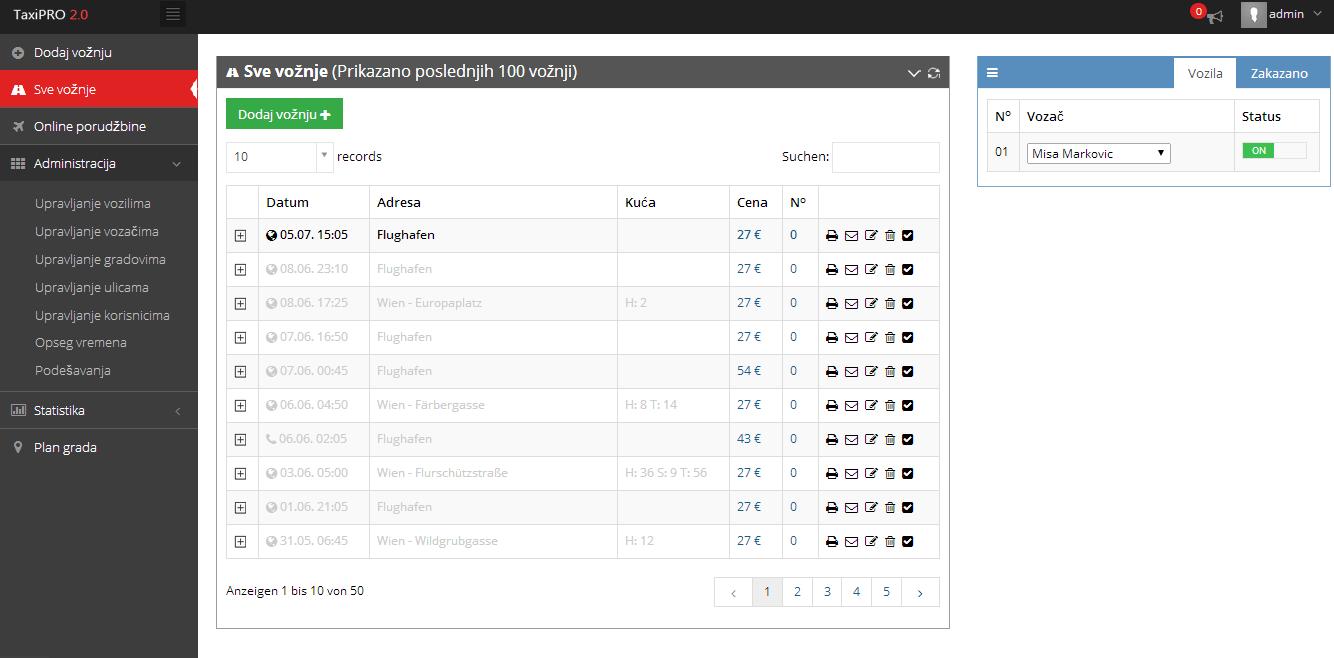 Novi TaxiPRO - Web aplikacija za Taxi firme